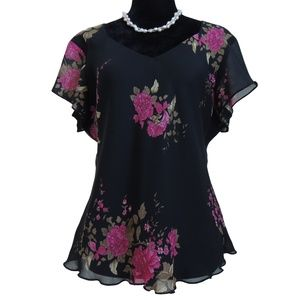 JOLIBEL Gorgeous Flirty Black & Rose Floral Top
